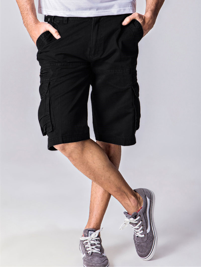 Men's Cotton Relaxed Fit Black Cargo Shorts Multi-Pocket Fashion Design Military Shorts Homme Casual Zipper Bermuda Masculina 38