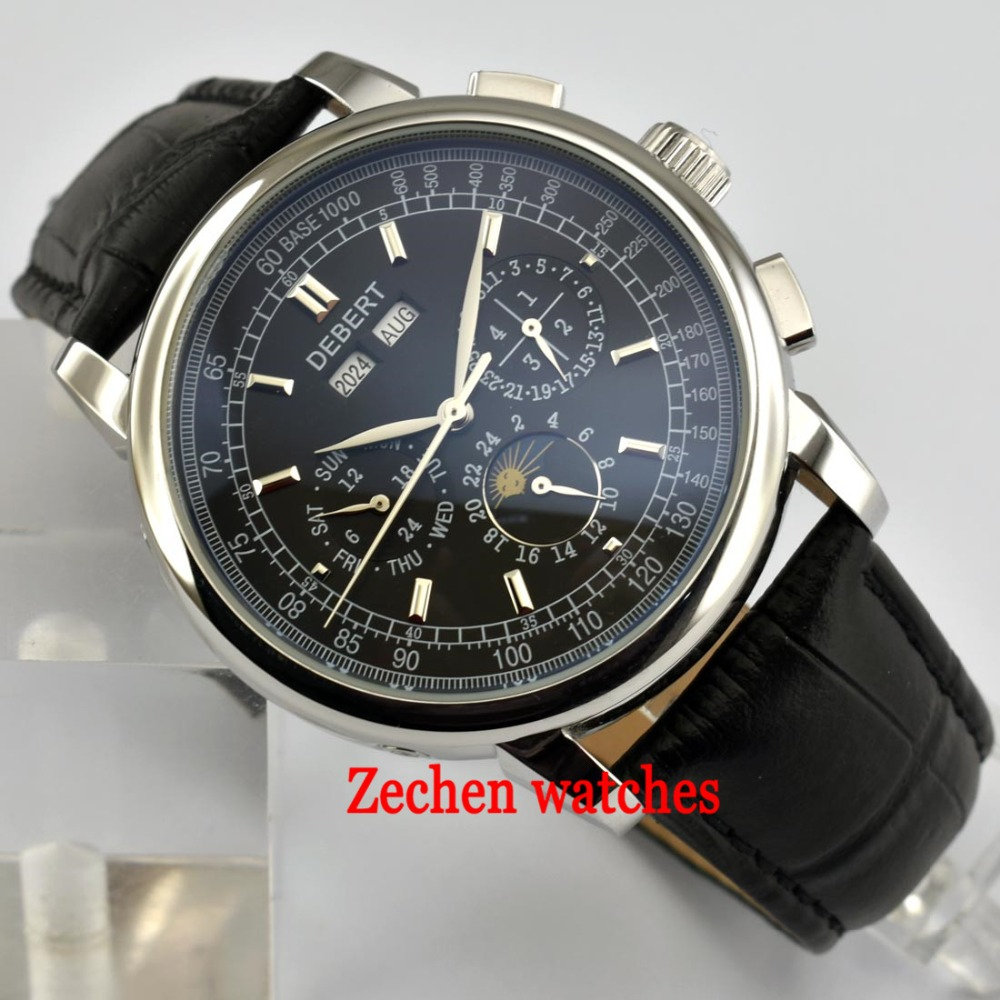 42mm Debert black dial date day Moon Phase multifunction automatic mens Watch 316L sliver case auyomatic mens watches