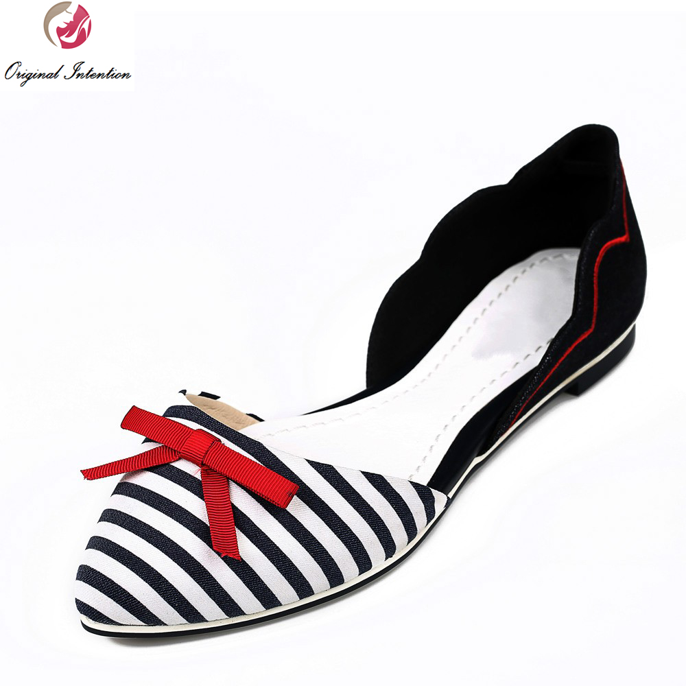 c18d0eb741 Original Intention New Design Women Flats Nice Bowtie Popular Striped  Pointed Toe Causal Flats Shoes Woman Plus EU Size 34-46