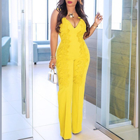 Sexy v neck jumpsuit for women 2019 Patchwork lace rompers womens jumpsuits Summer wide leg patns romper Yellow overalls mujer