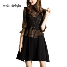 2017 Summer Dress Women Elegant O-Neck Retro Petal Lace Patchwork Chiffon Dresses Casual A-Line Feminino Party Chic Vestidos