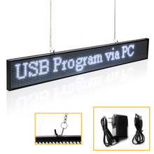P5mm SMD Led Sign Module 19.6 x 4 -Inch Scrolling Message LED Display Board with Metal Chain, White