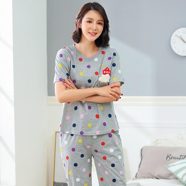 95190dec79 Brand Summer Women s Cartoon Pajamas Cotton Pajama Sets Female Printing  Polka Dot Sleepwear Casual Mujer Pyjama 3XL Home Clothes