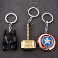 New Hero The Avengers Marvel Captain America Shield Thor Hammers Hulk Batman Mask KeyChain Keyrings