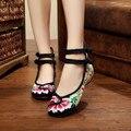 4 ColorsWomen Квартиры Мода Цветочные Традиционная Вышивка Обувь Для Женщины Дамы Мягкой Подошвой Повседневная Обувь Для Ходьбы Размер 35-41