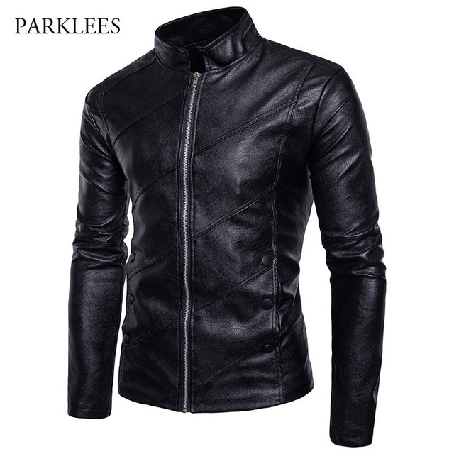 Motorcycle style leather jacket mens