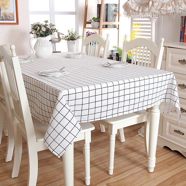 Linen Cotton White Pink Plaid Tablecloth Dining Kitchen Table Cover  Rectangular Oilproof Table Cloth Home Kitchen