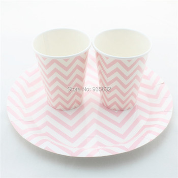 144pcs/lot Party Decoration 6colors Polka Dot Stripe Chevron 9'' Paper Plates& 9OZCups for Birthday Wedding Party