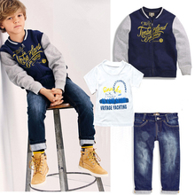 New Baby Children Boys Baseball Jacket Clothes Set Letter Print Fashion Outwear Kids Baseball Coat+T-shirt+Jeans 3pcs Outfit Set
