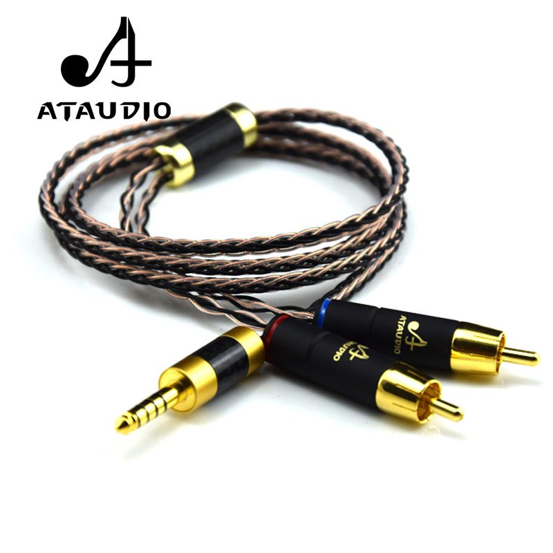 ATAUDIO HIFI 4.4mm To 2 RCA Audio Cable Sony WM1A/1Z PHA-1A/2A Z1R 4.4mm Upgrade Cable