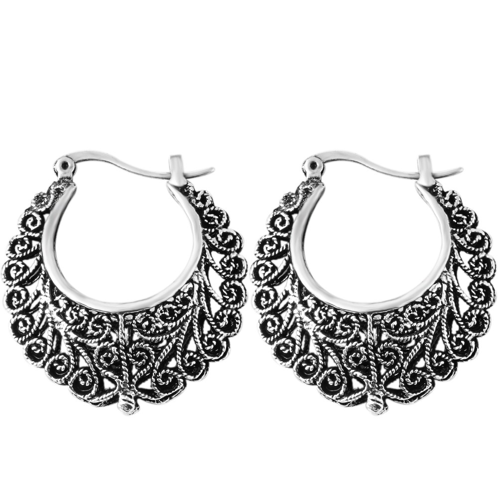 Vintage Earring Tibetan Silver Carved Flowers Shape Basketball Wives Round  Fancy Hoop Earrings Brand Jewelry Pending