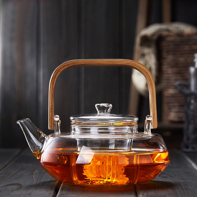PINDEFANG Bamboo Handle 800ml Blooming, Loose Leaf Tea Pot with Glass Strainer Safe Lid Dishwasher, Stovetop Safe Teaset Kettles