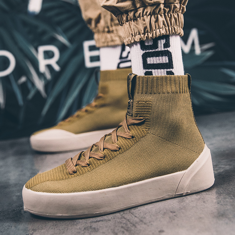 Dance Shoes Dashing Thick-bottom Super Cool Star Style Men Youth High Top Dancing Shoes Platform Hip-hop Short Boots Male Super Cool Star Sneaker