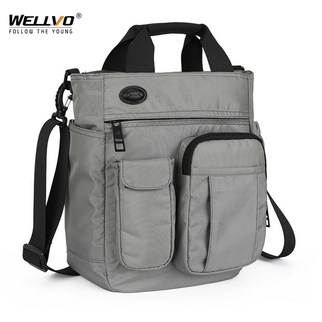 Men Multifunctional Shoulder Messenger Bag with Headphone Hole Waterproof Nylon Travel Handbag Large Capacity Storage Bags XA11C