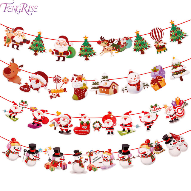 FENGRISE Christmas 2019 Banner Wall Hangings Christmas Ornaments Pendant Xmas Ornaments Merry Christmas Decorations for Home