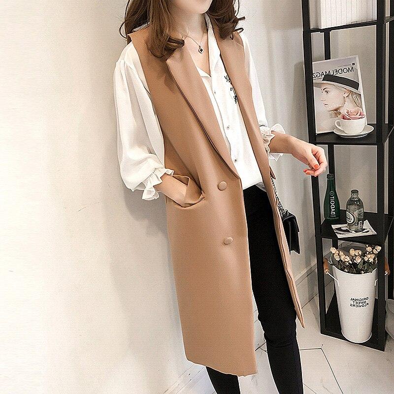 2019 Autumn Women Blazers Sleeveless Long Vest Jacket Double-breasted Casual Outwear Elegant Office Lady Waistcoat Jackets M28
