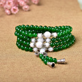 of male and female counter multi ring bracelet with 108 silver green chalcedony collocation Pearl crystal jewelry sales