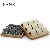 FANXI Solid wood Beige/ Dark Gray 9 Seats Earrings Display Stand with Microfiber for Jewelry Expositor Ear stud Holder Organizer