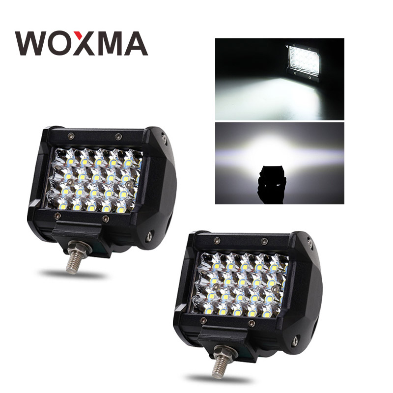 WOXMA Offroad 4x4 Led Car Work Light Auto Bar Off Road 12V 72W Flood Spot Working Led Driving Headlamp for Boat ATV SUV Bulb 2pcs 80w 5inch led work light round led driving lamps with spot and flood cover off road fog bulb for offroad tractor 4wd atv