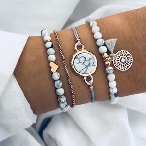 Tocona Bohemian Heart Beads Tassel Layered Bracelet Set for Women Handmade Chains Rope Adjustable Bangle Set Anklet 6905(China)