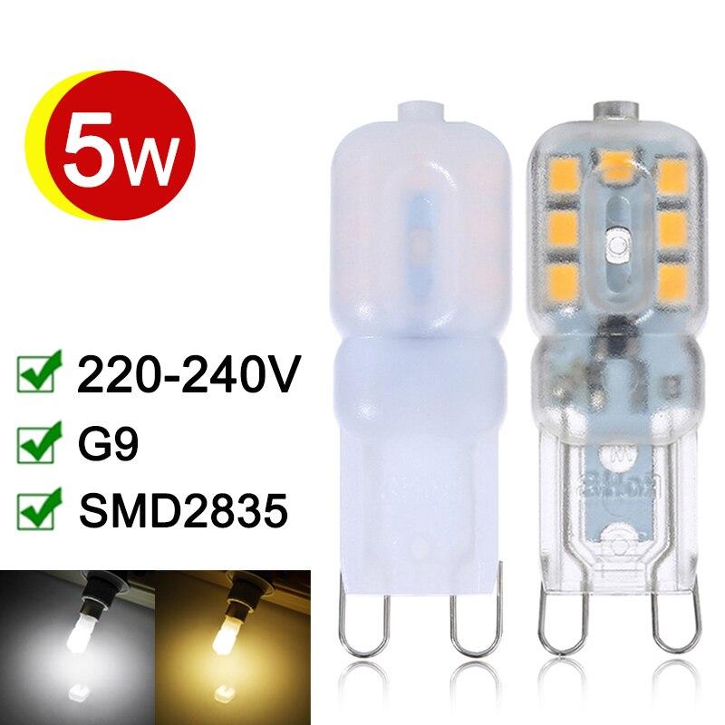 G9 светодиодные лампы 5 Вт G9 Светодиодные лампы переменного тока 220 В 240 В свет SMD 2835 360 градусов Освещение высоким коэффициентом пропускания для хрустальная люстра Декор