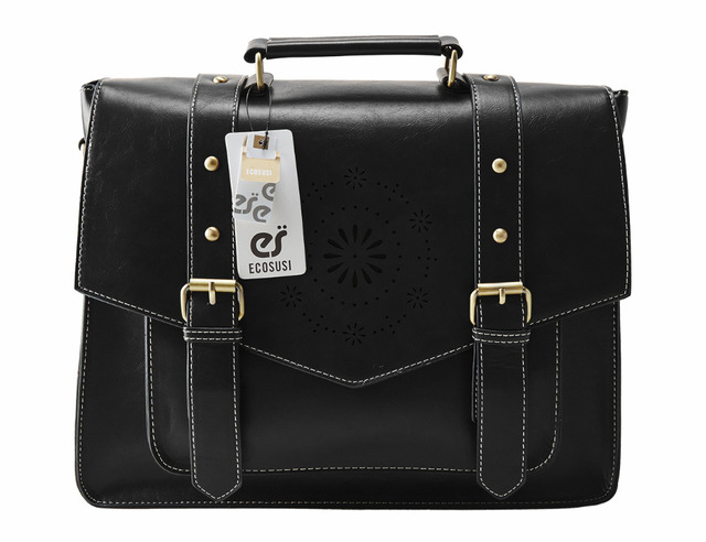 ECOSUSI Retro Faux Leather 14.7″ Laptop Crossbody Briefacase Messenger Bags Women Satchel Bags For School School Shoulder Bags