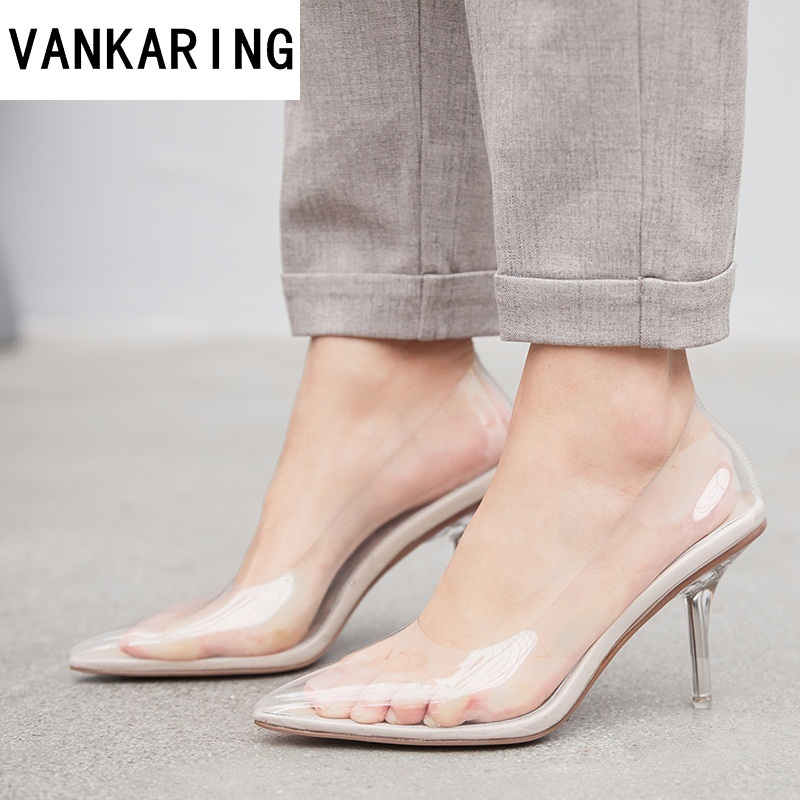 women pumps transparent super high heels sexy ladies pointed toe slip on women wedding party dress