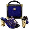 2016 Очаровательная Итальянская Обувь С Сопрягая Мешки Стразы Золото Высокое Качество Африканские Обувь И Сумки, Установленные для Свадьбы Размер 38-43