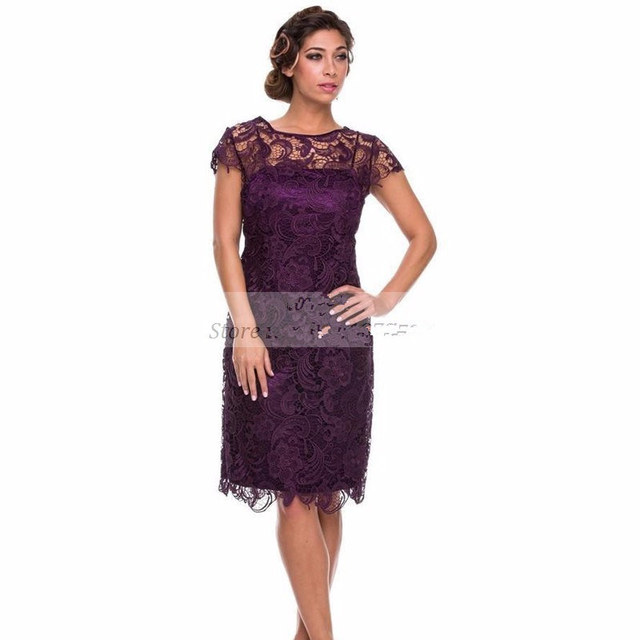 Lace Mother of the bride dresses Cap sleeve Elegant Sheath Women ...