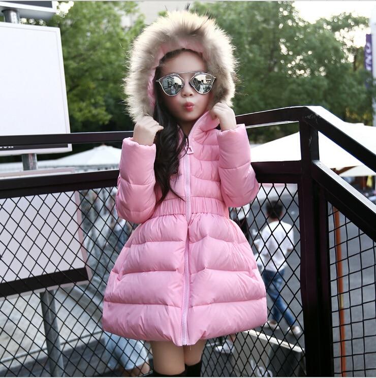 2016 yeni moda kız uzun aşağı ceket kış kız için kalınlaşmak ceketler coats kürk yaka kapüşonlu çocuk ceket giyim