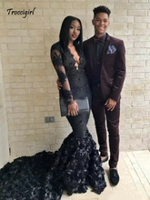 Long Sleeves Black 3D Rose Flowers Prom Dresses Lace Appliques Beaded Party Gown