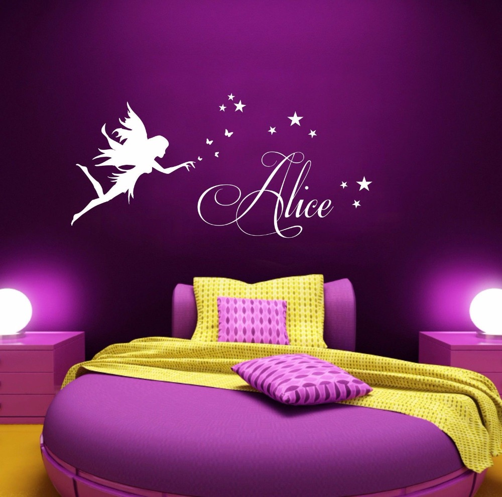 Wall paintings for bedrooms for girls - Personalised Any Name Fairy Stars Girls Bedroom Kids Vinyl Wall Art Sticker Gift 30cmx60cm In Wall Stickers From Home Garden On Aliexpress Com Alibaba