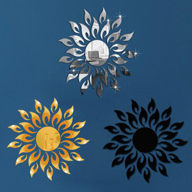 3D Mirror Sun Flower Art Removable Wall Sticker Acrylic Mural Decal Home Room Decor Hot 2