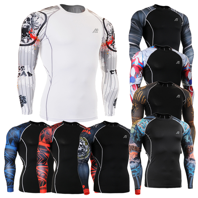 2016 MMA Compression Shirt 3d Prints Crossfit Skin Tights Long Sleeve Men's Tshirt Gay Thermal Clothing Family Gifts CSP 4XL