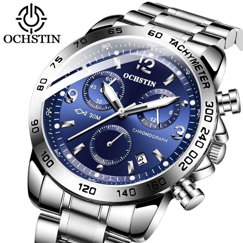 OCHSTIN hommes bracelet de montre décontracté montre-bracelet étanche chronographe Quartz noir mâle Date en acier bracelet horloge