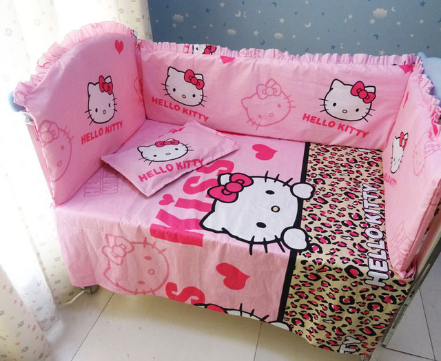 Promotion! 6PCS Hello Kitty Cotton Baby Crib Beding Sets Baby Infant Toddler Bedding Set (bumper+sheet+pillow cover)