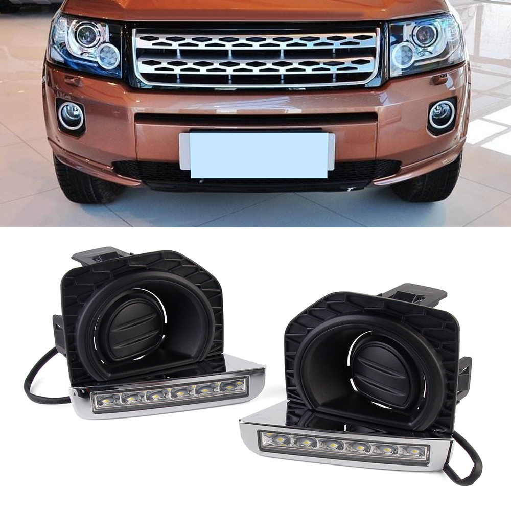 Auto Car LED Light DRL Daytime Running Lights Driving Lamps For Land Rover Freelander 2 12-14 2pcs/set Free Shipping for land rover range rover sport freelander 2 discovery 4 2006 2014 car styling led fog lights lamp crystal blue blue 12v