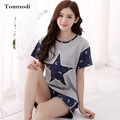 Women's Sleepwear Summer Cotton Short-sleeve Sleep Wear Pullover Character Lounge Pajamas Set Pyjama Femme