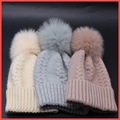 Winter fur pompom hat for women cashmere wool cotton hat Big Real Raccoon fur pompom Beanies cap
