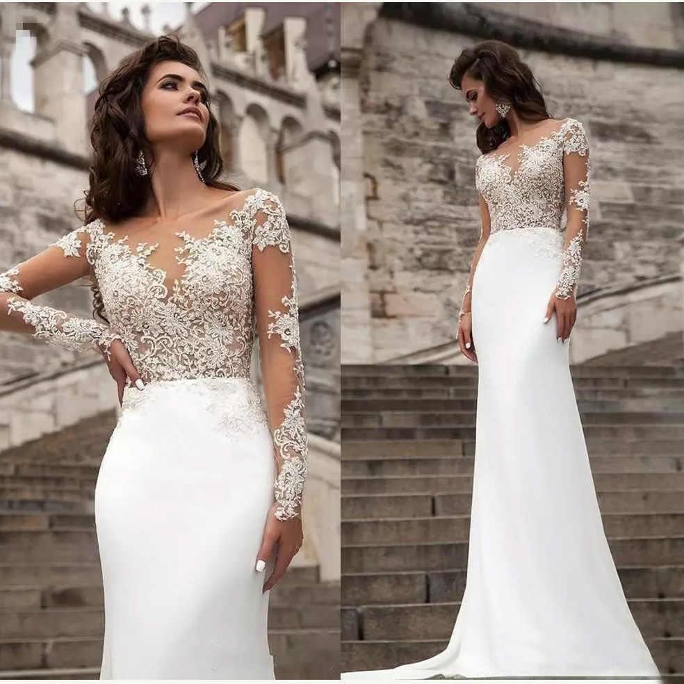 Sexy Sheer Long Sleeves Lace Wedding Dresses 2019 Milla Nova