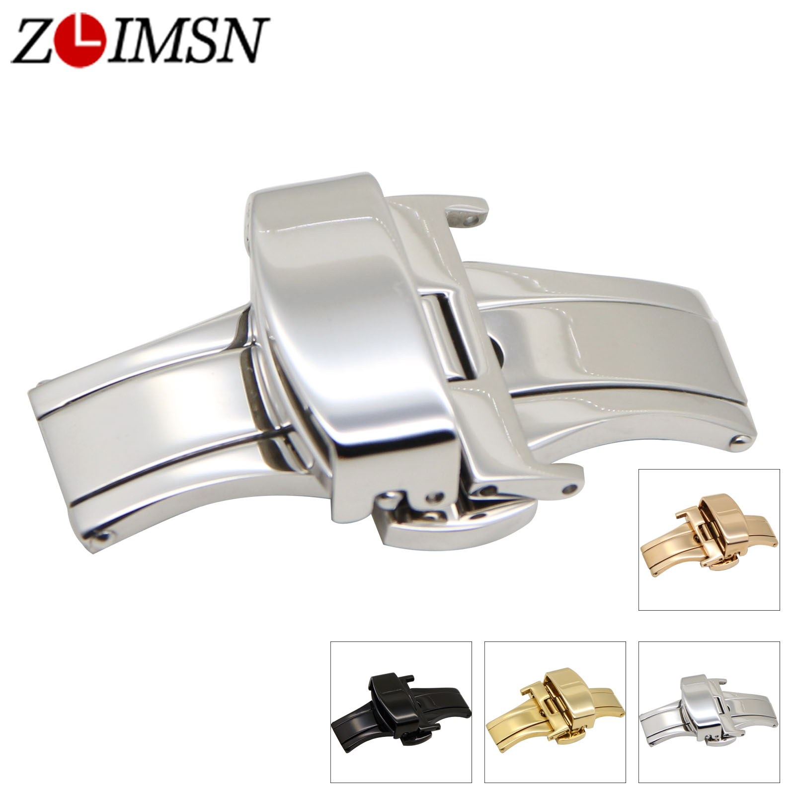 ZLIMSN Wholesale Double Push Button Fold Automatic Butterfly Buckle Watchband Stainless Steel Clasp Relojes Hombre zlimsn 20mm double push button deployment clasp silver gold black rose gold stainless steel watch metal buckle relojes hombre