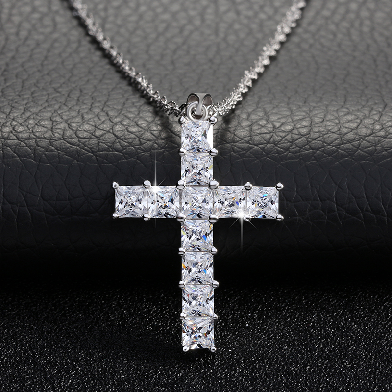 Luxury Cross Pendant Necklace made of 11 Pieces Princess Cut Cubic Zircon Necklace Pendant for Ladies and Women ON100 цены