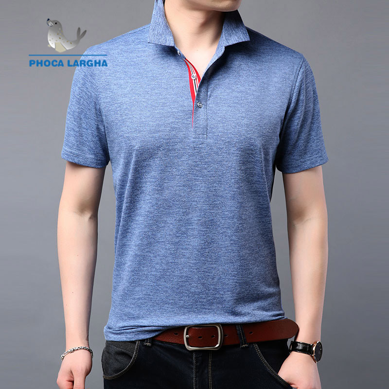 Summer fashion trend   POLO   shirt men's short-sleeved cotton lapel loose solid color lapel breathable men's shirt