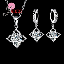 JEXXI Lovely CZ Crystal Wedding Jewelry Sets Imitated Gemstone Jewelry Set Necklace Earrings Set 925 Sterling Silver