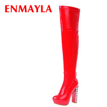 Rhinestone Patent Leather new fashion women boots high heels over the knee high boots Prom platform winter motorcycle long boots цены онлайн