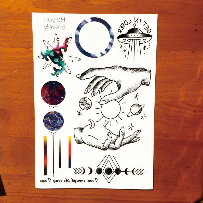 85729e40e ... T1809 1 Piece Space Travel Temporary Tattoo with Line, Planet,  Celestial Body,Spaceship