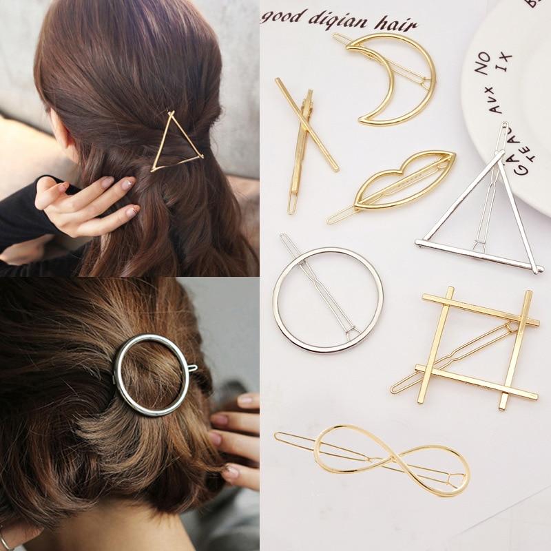 Fashion Metal Geometric Hair Accessories Elegant Sweet HairPins Hair Clip Pins For Women Girl Barrettes Circle Hairband Hairgrip