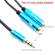 Two-in-one audio Adapter Dual 3.5 MM Headphone Plug Audio Cables Splitter Microphone+Stereo plug 2 in 1 4 pole Headset Connector