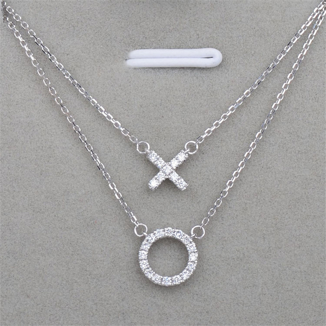 Eternity Circle 0.16ctw Diamond Pendant Letter X and O Pave Set 14k White Gold 25 Stones Circle Natural Diamond Pendant Necklace