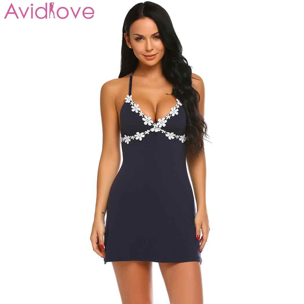 4f9285752637 ... Avidlove Women Nightgown Nighty Night Dress Nightwear Sexy Nightie  Spaghetti Strap Nightdress V-Neck Chemise ...
